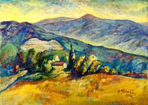 Veduta dal Carpineto, olio su cartone telato cm. 70x50 - 2004