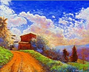 Primavera verso Fornione, tecnica mista su tela cm. 50x40 - 2013
