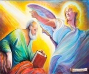S. Matteo Evangelista, olio su tela cm. 150x100 - Santuario di Gaggio